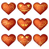 Set of hearts with ornament Royalty Free Stock Images