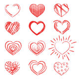 A set of hearts painted with lipstick. Collection of hearts painted with a dry brush. Symbol of love. Stock Photos