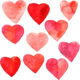 Set of hearts painted by watercolor Royalty Free Stock Image