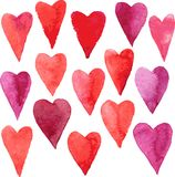 Set of hearts painted by watercolor Royalty Free Stock Images