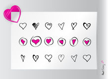 Set of hearts and paperclip Stock Photography