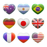 Set of hearts with picture of flags Royalty Free Stock Photos
