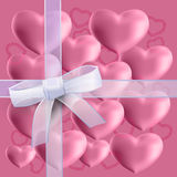 Set of hearts on a pink background Stock Image
