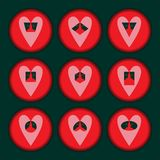 Set of hearts red stock illustration