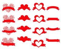 Set hearts on the ribbon. Set of design elements heart on the ribbon. Vector illustration Stock Photos