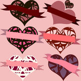 Set of hearts with ribbons, heart emblems for valentine's day.  Stock Photos
