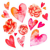Set of hearts and roses. Valentine Day. Watercolor heart. Vector. Camellia. Stock Images