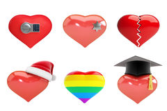 Set of hearts in Santa`s hat, sheriff`s star, heart is broken, electronic lock, rainbow heart Stock Photos