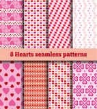 Set of hearts seamless patterns. A set of eight samples fabric with heart pattern. Seamless texture. In the illustration used free font ChunkFive (taken here www Stock Images