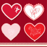 Set of hearts shape are made of lace doily, elemen Royalty Free Stock Image