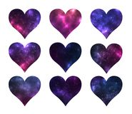 Set of hearts shapes with cosmic texture inside on white background. Stock Images