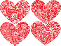 Set of hearts shapes with hand drawn floral orname Royalty Free Stock Photo