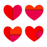 Set of Hearts With Stitches Stock Photos