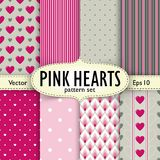 Set of hearts, stripes and dots seamless patterns. Patterns and setting with label and mesh shadow on separate layers. Eps 10 vector illustration. . Patterns Stock Photos