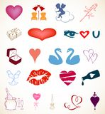 Set of hearts style details. Vector objects Royalty Free Stock Photos