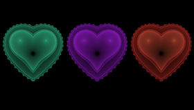 Set of Hearts. Three fractal hearts on the black background Royalty Free Illustration