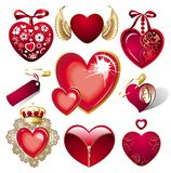 Set of hearts for Valentine's day Stock Photos