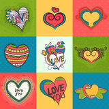 Set of hearts for Valentine's Day celebration. Royalty Free Stock Photos