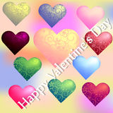 Set of hearts on Valentine's Day with a flower ornament on a blurred background Stock Photography