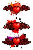 Set of hearts with vignettes and blots Stock Photography
