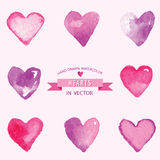 Set of Hearts Watercolor. Set of Hearts - hand drawn in Watercolor - vector Stock Images