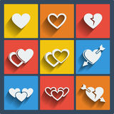 Set of 9 hearts web and mobile icons. Vector. Royalty Free Stock Photography