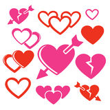 Set of hearts web and mobile logo icons. Isolated on white. Hearts and arrows vector symbols Royalty Free Stock Photography
