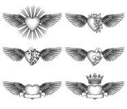 Set hearts and wings Royalty Free Stock Photo