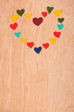 Set of hearts on  wooden background Stock Photo