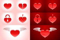 Set of heartshapes. Heart-shaped vector symbols on bright and on dark red backgrounds stock illustration