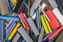 Set Heat Shrink Tubing to protect cables isolation Royalty Free Stock Images
