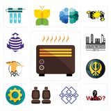 Set of heater, mystery person, generic, car seat, transparent gear, khanda, hoopoe, established, purple cobras icons. Set Of 13 simple editable icons such as Royalty Free Stock Photography
