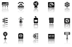 Set of heating icons with reflection Royalty Free Stock Image