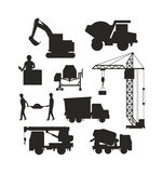 Set of heavy construction equipment silhouette machines icon building transport vector. Stock Image