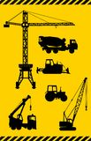 Set of heavy construction machines icons. Vector illustration Royalty Free Stock Photography