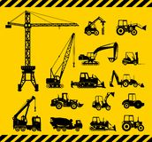 Set of heavy construction machines icons. Vector Stock Photos