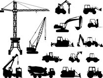 Set of heavy construction machines icons. Vector Royalty Free Stock Photos
