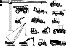Set of heavy construction machines icons. Vector Royalty Free Stock Image