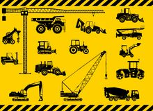 Set of heavy construction machines icons. Vector Royalty Free Stock Photo