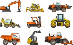 Set of heavy construction machines isolated  Royalty Free Stock Photography