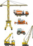 Set of heavy construction machines. Vector illustration Stock Photos