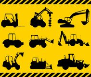 Set of heavy construction machines. Vector illustration Stock Photo