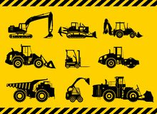 Set of heavy construction machines. Vector illustration Royalty Free Stock Image