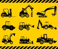Set of heavy construction machines. Vector Stock Photo