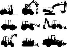 Set of heavy construction machines. Vector Royalty Free Stock Image