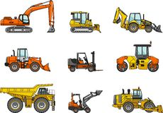Set of heavy construction machines. Vector Royalty Free Stock Photo