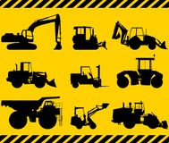 Set of heavy construction machines. Vector Stock Image