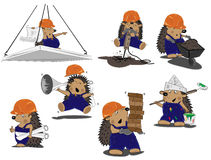 Set of hedgehogs builders Royalty Free Stock Photography