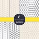 Set 8 heksagonalnych honeycomb kreskowego stylu bezszwowych wzorów Zdjęcie Royalty Free