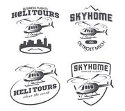 Set of helicopter logo, badges and emblems. Set of helicopter logo, badges and emblems isolated on white background. Vector illustration of a helicopter takes Royalty Free Stock Photo